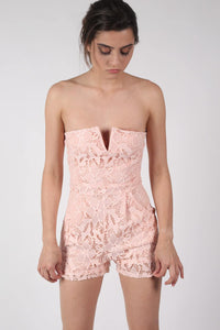 Bandeau Crochet Lace Playsuit in Nude 1
