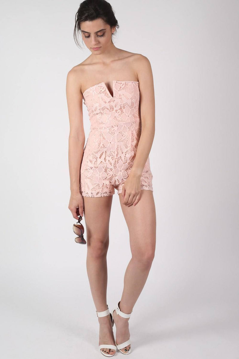 Bandeau Crochet Lace Playsuit in Nude 3