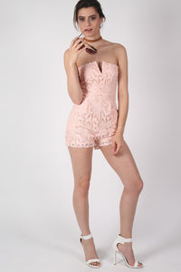 Bandeau Crochet Lace Playsuit in Nude 4