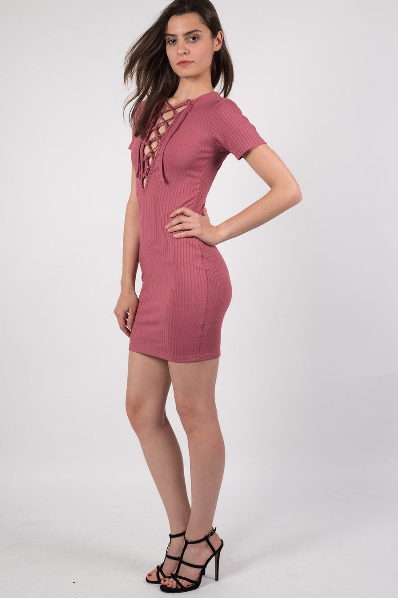 Rib Lace Up Front Mini Dress in Rose Pink 1