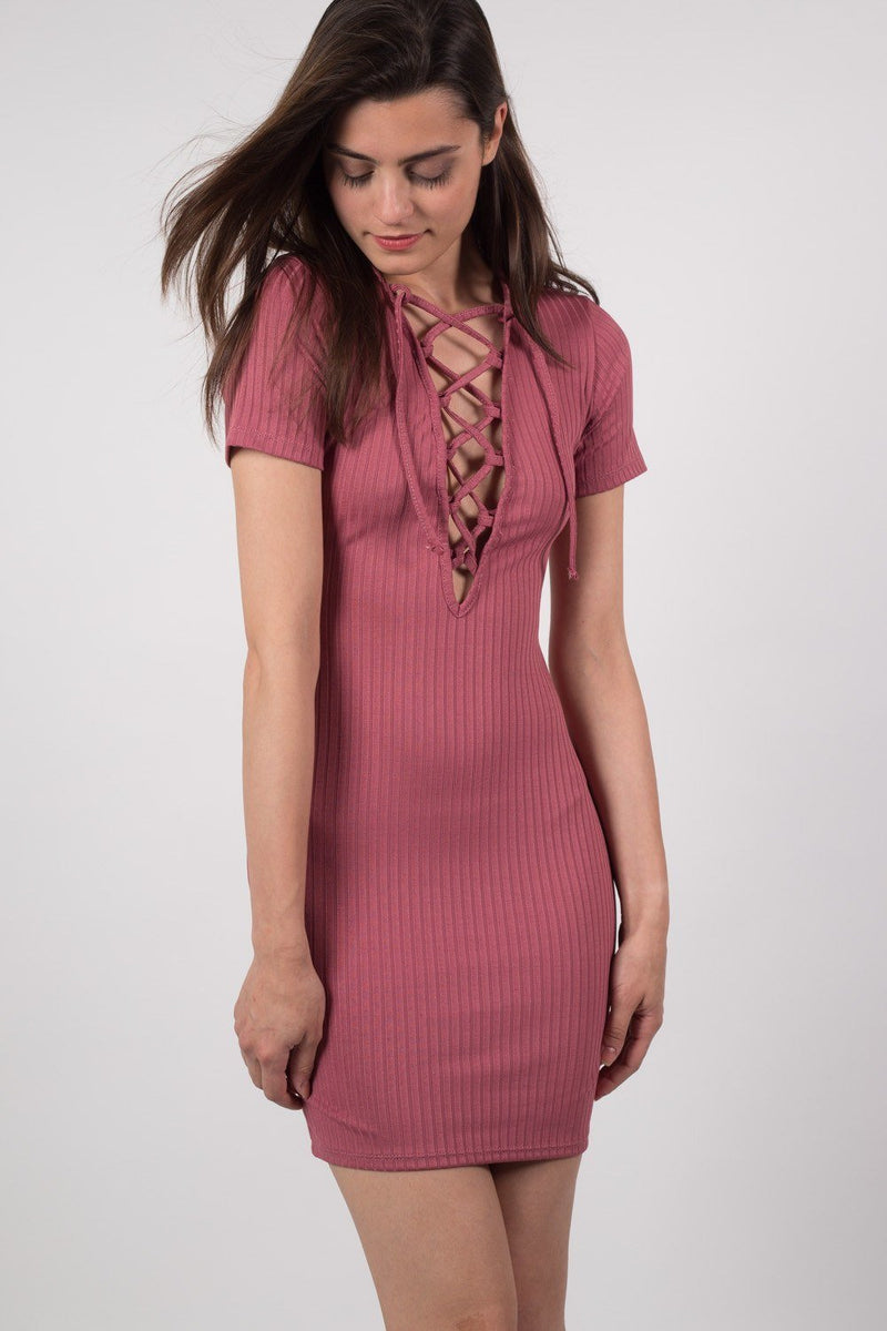 Rib Lace Up Front Mini Dress in Rose Pink 2