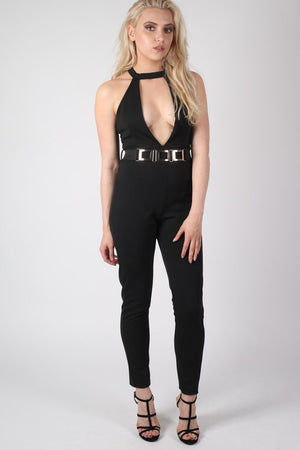 Choker Plunge V Neck Jumpsuit in Black 3