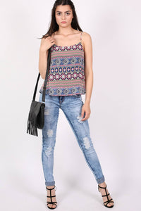 Tribal Print Cami Top in Dusty Blue 4