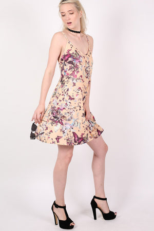Butterfly Print Strappy Swing Dress in Beige 4