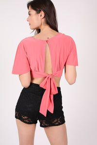 Deep V Neck Tie Back Angel Sleeve Crop Top in Coral 3
