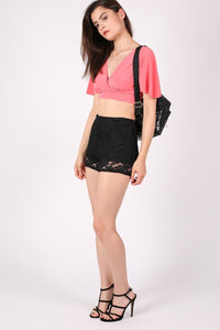 Deep V Neck Tie Back Angel Sleeve Crop Top in Coral 4