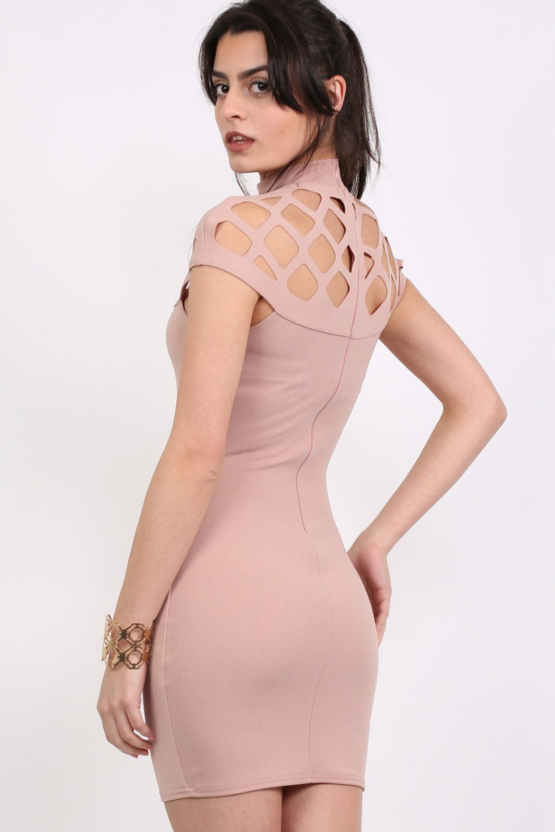 Caged Detail Bodycon Mini Dress in Rose Pink 1