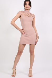 Caged Detail Bodycon Mini Dress in Rose Pink 2