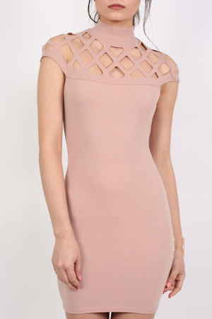 Caged Detail Bodycon Mini Dress in Rose Pink 4