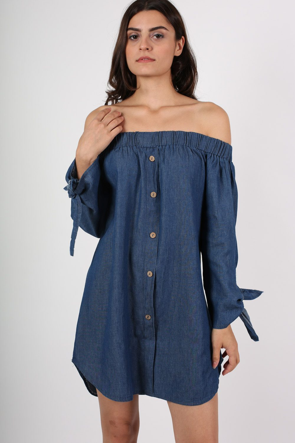 Button Front Off Shoulder Denim Mini Dress in Dark Denim 0