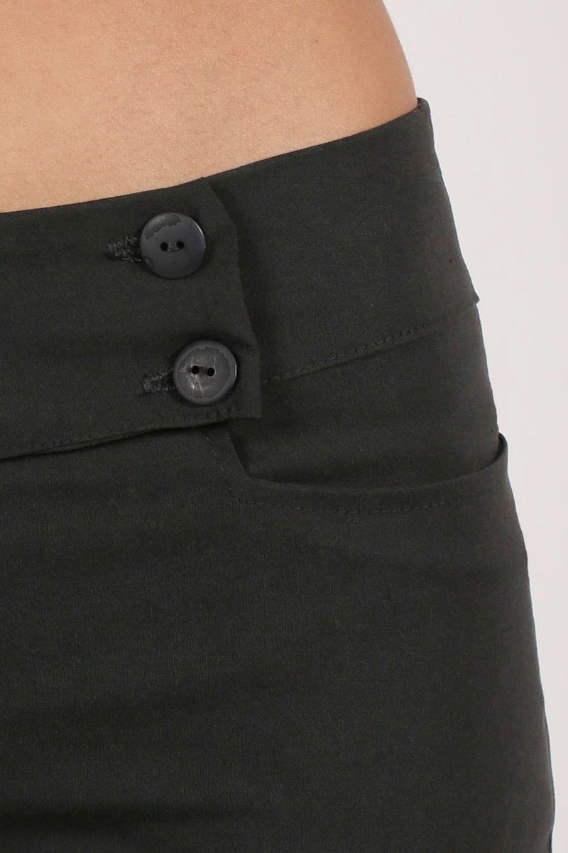 Extended Button Detail Waistband Straight Leg Plain Trousers in Black 2