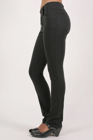 Extended Button Detail Waistband Straight Leg Plain Trousers in Black 3