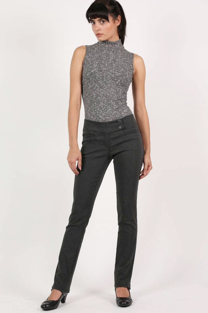 Extended Button Waistband Straight Leg Plain Trousers in Charcoal Grey 0