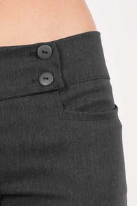 Extended Button Waistband Straight Leg Plain Trousers in Charcoal Grey 2