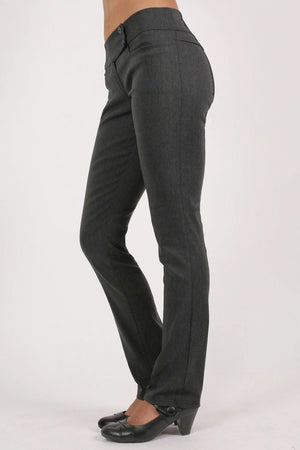 Extended Button Waistband Straight Leg Plain Trousers in Charcoal Grey 3