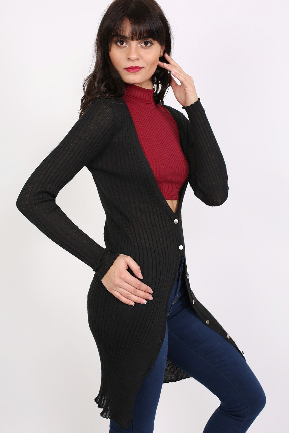 Ribbed Fine Knit Long Cardigan in Black 0