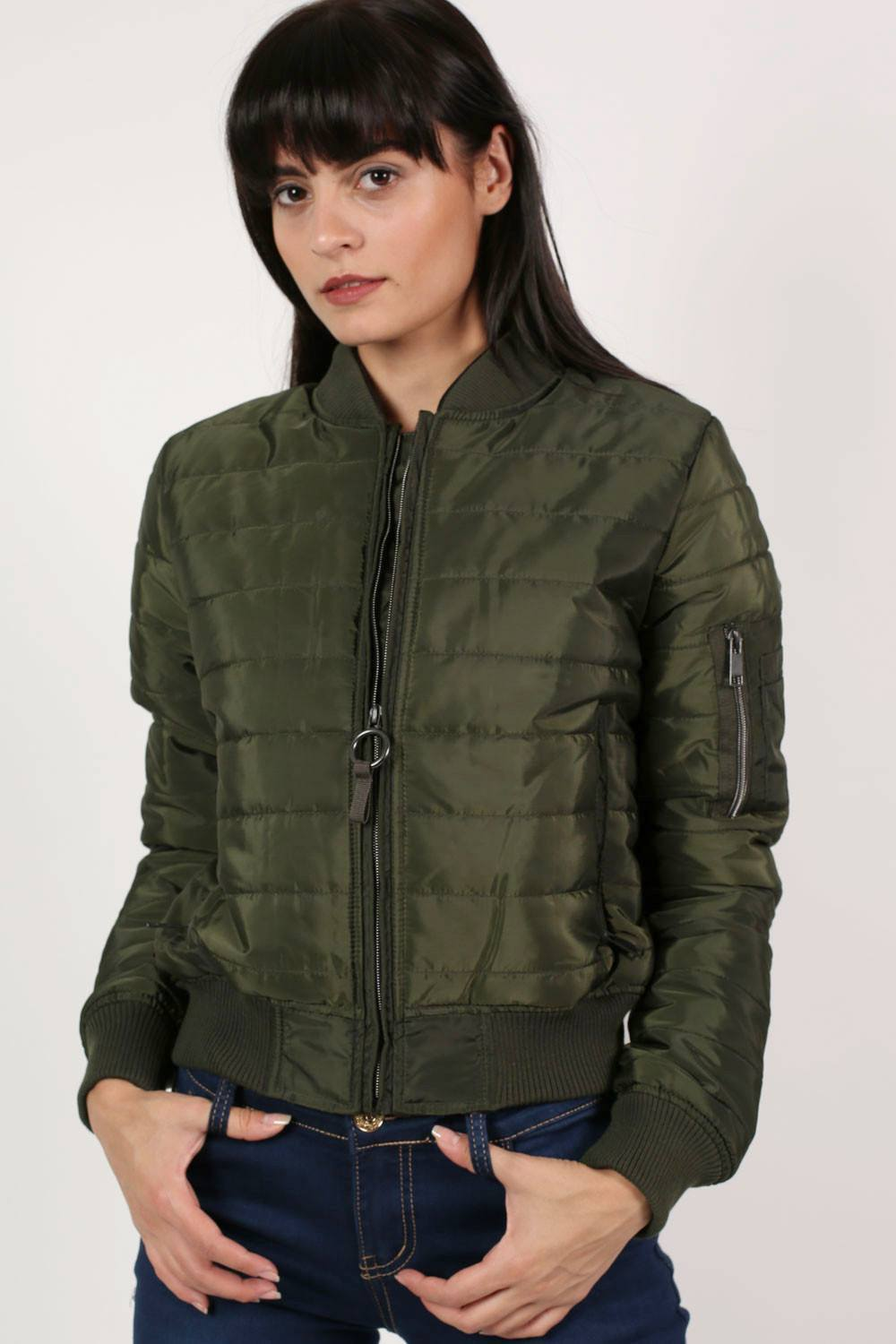 Quilted Padded Bomber Jacket in Khaki Green 0