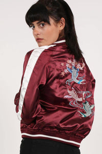 Embroidered Satin Bomber Jacket in Wine Red 1