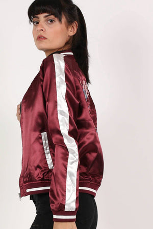 Embroidered Satin Bomber Jacket in Wine Red 3