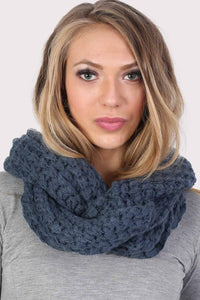 Soft Chunky Knit Snood in Dusty Blue 0