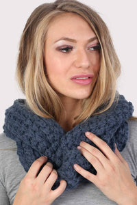Soft Chunky Knit Snood in Dusty Blue 1