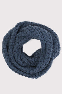 Soft Chunky Knit Snood in Dusty Blue 2