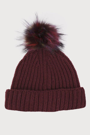 Plain Chunky Rib Knit Faux Fur Pom Pom Beanie Hat in Wine Red 2