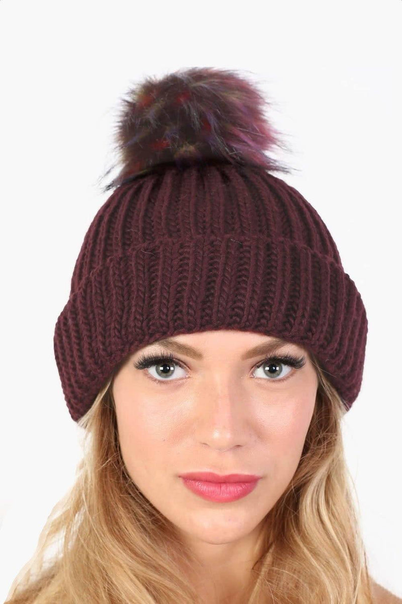 Plain Chunky Rib Knit Faux Fur Pom Pom Beanie Hat in Wine Red 0