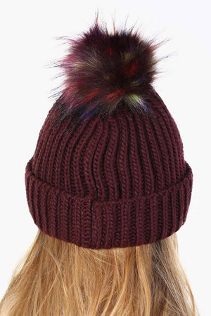 Plain Chunky Rib Knit Faux Fur Pom Pom Beanie Hat in Wine Red 1