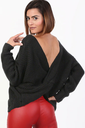 Long Sleeve Chunky Knit Jumper With Knot Back Detail in Black 0