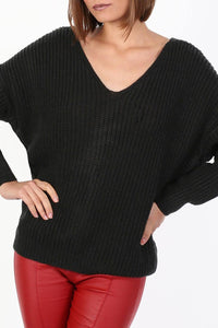 Long Sleeve Chunky Knit Jumper With Knot Back Detail in Black 4