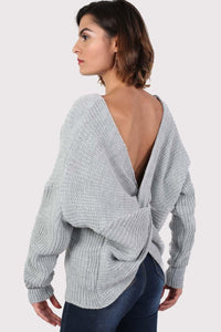 Long Sleeve Chunky Knit Jumper With Knot Back Detail in Light Grey 0