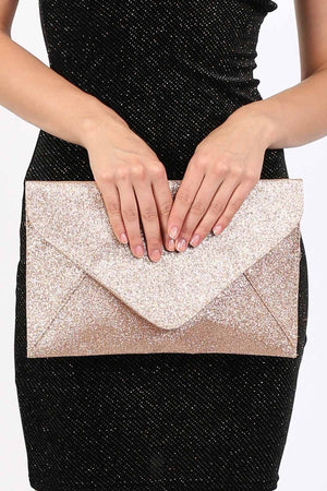 Glitter Envelope Clutch Bag in Gold 1