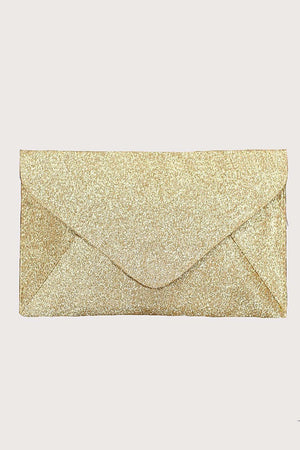 Glitter Envelope Clutch Bag in Gold 3