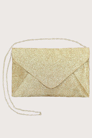 Glitter Envelope Clutch Bag in Gold 5