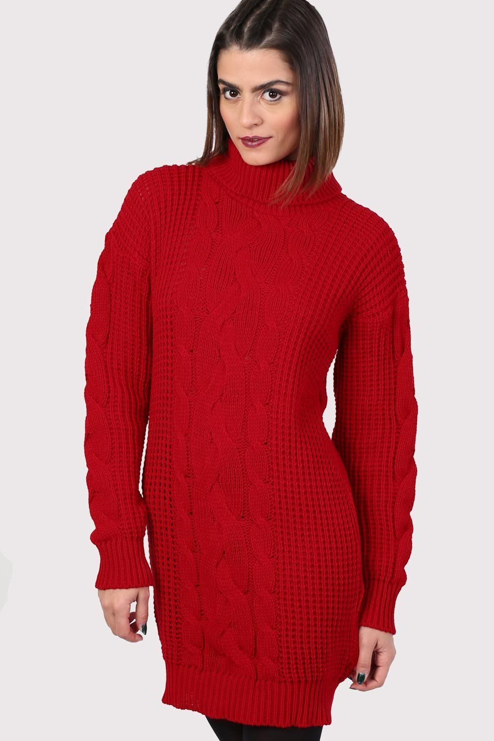 Cable Knit Long Sleeve Roll Neck Jumper Dress in Red 0