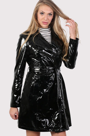 Vinyl Trench Coat in Black 0