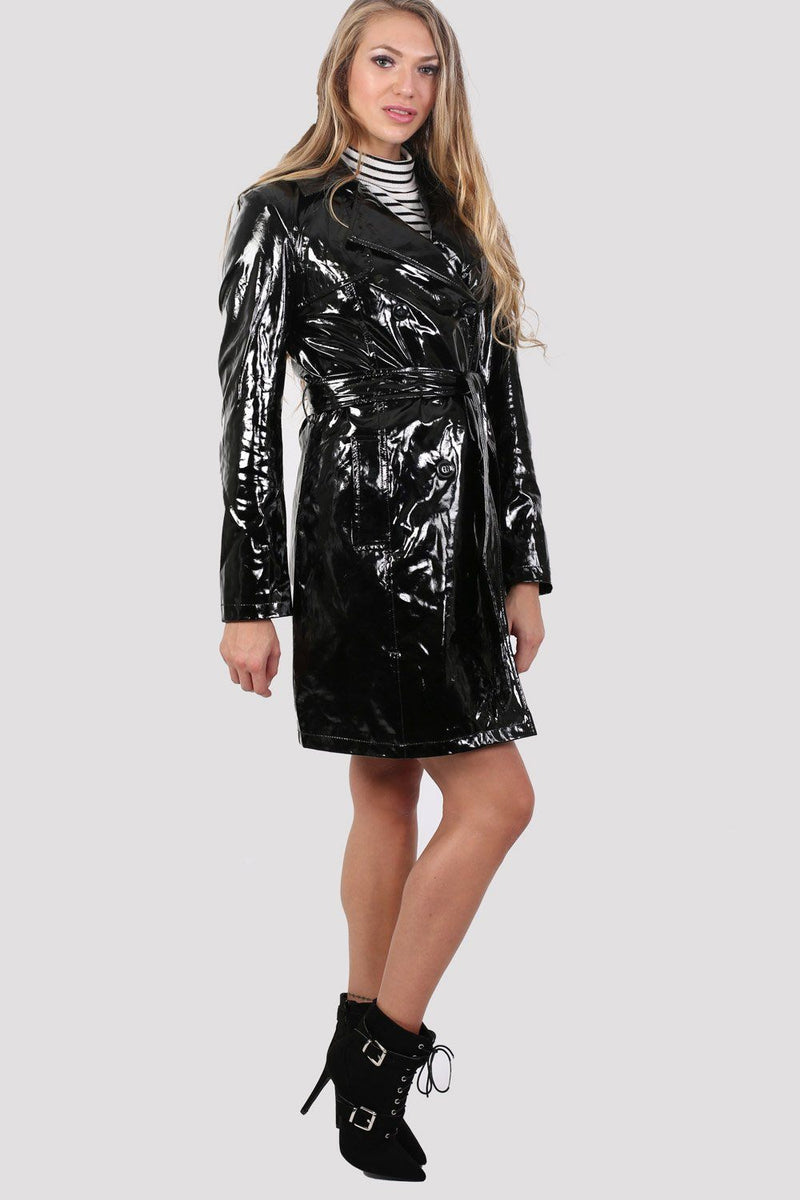 Vinyl Trench Coat in Black 3
