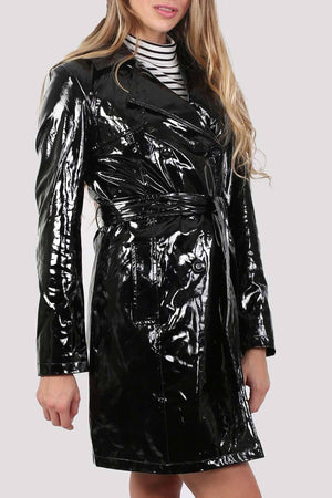 Vinyl Trench Coat in Black 4