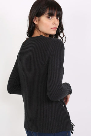 Knitted Rib Jumper With Lace Up Side Detail in Black 3