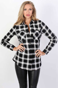 Brushed Check Shirt in Black 0