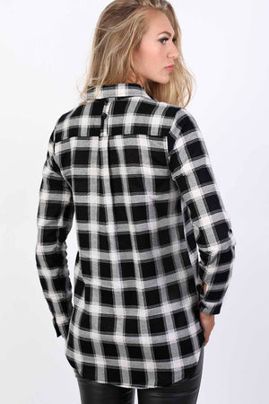 Brushed Check Shirt in Black 2