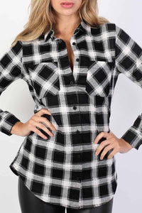 Brushed Check Shirt in Black 4