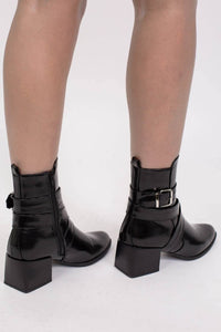 Strap And Buckle Detail Block Heel Ankle Boots in Black 2