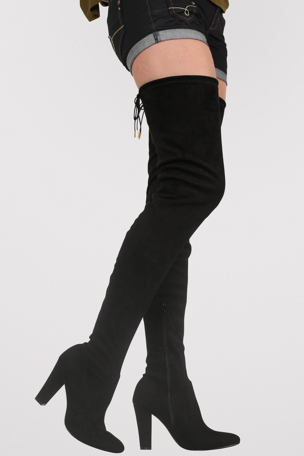 Faux Suede Over The Knee High Heel Boots in Black – pilot