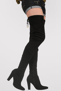 Faux Suede Over The Knee High Heel Boots in Black 1