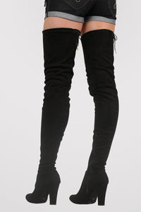 Faux Suede Over The Knee High Heel Boots in Black 3