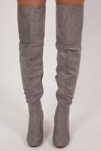Faux Suede Over The Knee Stiletto High Heel Boots in Grey 1