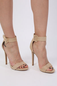 Velvet Ankle Strap High Heel Sandals in Nude 0