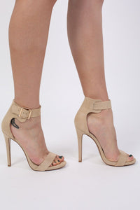 Velvet Ankle Strap High Heel Sandals in Nude 1